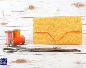Yellow & White Harris Tweed Wallet with Coin Section