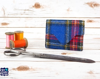 Blue Tartan Harris Tweed Small Ladies Wallet with Coin Section