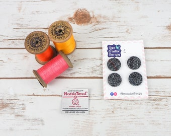 Grey Harris Tweed Covered Buttons - 23mm