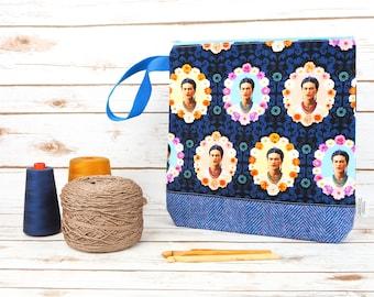 Frida Kahlo Project bag with Harris Tweed base