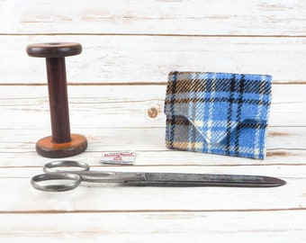Blue & Beige Tartan Harris Tweed Small Ladies Wallet with Coin Section
