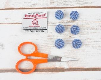 Blue Herringbone Harris Tweed Covered Buttons - 15mm