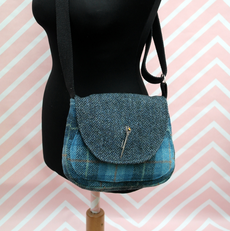 a9fdfe83dc18 Bella - Blue tartan Harris Tweed Cross Body- Handmade Handbag - Messenger  Bag - Casual Bags - Gift for her - Vintage Brooch