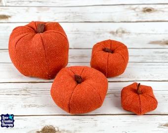 Plush Harris Tweed Pumpkins - Orange Twill