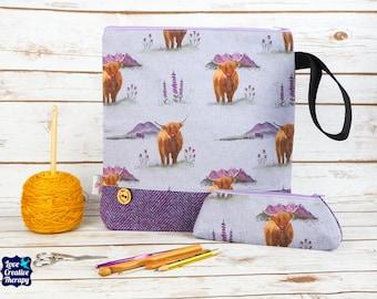 Highland Cow Craft bag with Harris Tweed base & pencil case gift set