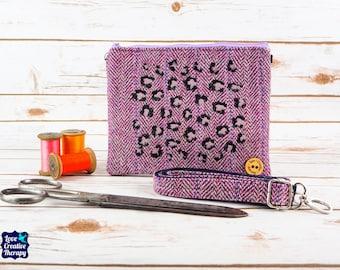 Greta - Lilac Purple Herringbone Harris Tweed Cross Body/ Clutch Bag with Embroidered leopard print