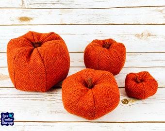 Plush Harris Tweed Pumpkins - Orange Herringbone