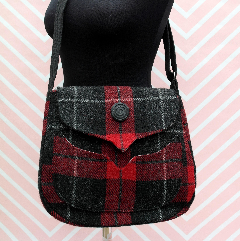 bd48149df9 Myrtle - Red Tartan Harris Tweed Cross Body Bag - Handmade Handbag - Messenger  Bag - Casual Bags - Gift for her -Vintage Brooch