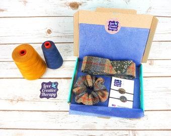 Natural Tartan Harris Tweed Hair Accessories Gift Box - Head Band Scarf, Scrunchie and Bobbles