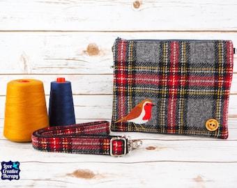 Greta - Grey, Red, Black and White Tartan Harris Tweed Cross Body/ Clutch Bag with Embroidered Robin