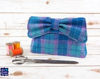 Katharine - Purple & Blue Tartan Harris Tweed Clutch Bag