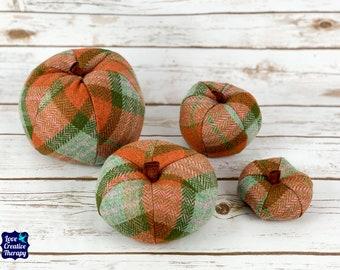 Plush Tweed Pumpkins - Orange & Green Tartan