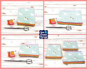 Zipped Pouches: Unicorn Cotton and Harris Tweed - Choose Size!