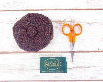 Dark Brown Herringbone Donegal Tweed Pin Cushion