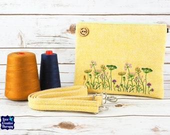 Greta - Lemon Herringbone Harris Tweed Cross Body/ Clutch Bag with Embroidered Meadow Flowers