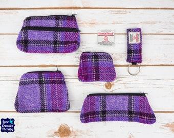 Purple Tartan Harris Tweed Accessories - Coin Purse, Pen/ Glasses Case, Keyring