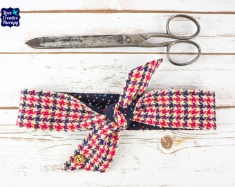 Harris Tweed Navy, Pink, Yellow & White Houndstooth Headband Scarf - Double Sided