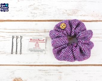 Purple Herringbone Harris Tweed Hair Scrunchie Bobbles