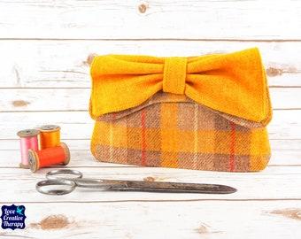 Katharine - Yellow & Oatmeal Tartan Harris Tweed Clutch Bag
