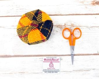 Yellow Tartan Harris Tweed Pin Cushion