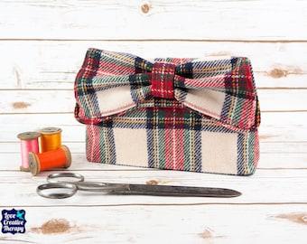 Katharine - Red, Black and White Tartan Harris Tweed Clutch Bag