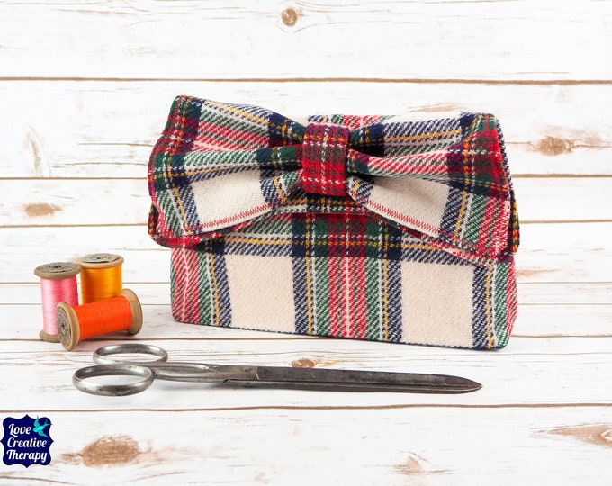Featured listing image: Katharine - Red, Black and White Tartan Harris Tweed Clutch Bag