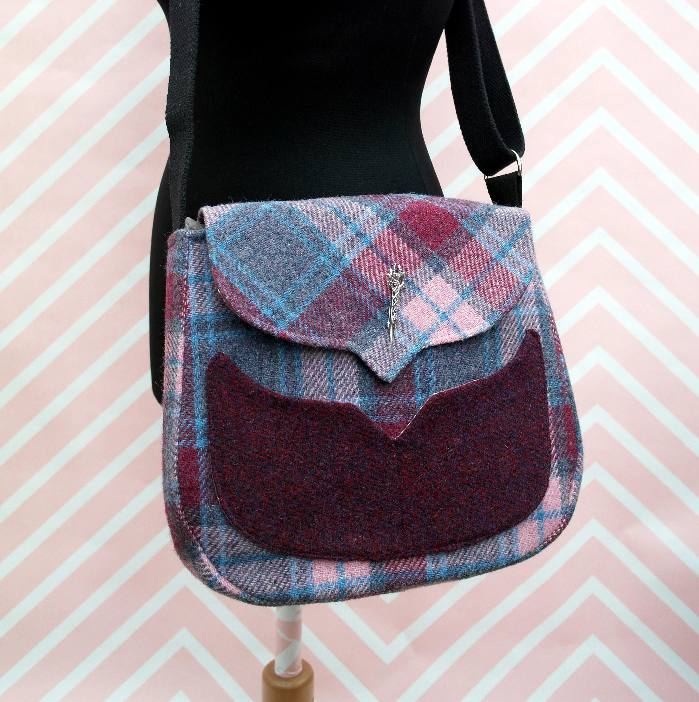 eedc05d142 Myrtle - Pink Tartan Harris Tweed Cross Body Bag - Handmade Handbag - Messenger  Bag - Casual Bags - Gift for her -Vintage Brooch
