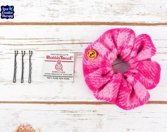 Pink Tartan Harris Tweed Hair Scrunchie Bobbles