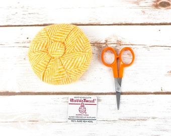 Yellow Herringbone Harris Tweed Pin Cushion