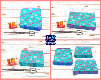 Zipped Pouches: Flamingo Cotton and Harris Tweed - Choose Size!
