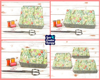 Zipped Pouches: William Morris Golden Lily Cotton and Harris Tweed - Choose Size!