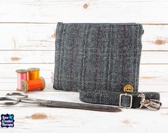 Greta - Grey Overcheck Harris Tweed Cross Body/ Clutch Bag