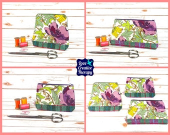 Zipped Pouches: Purple Floral Cotton and Harris Tweed - Choose Size!