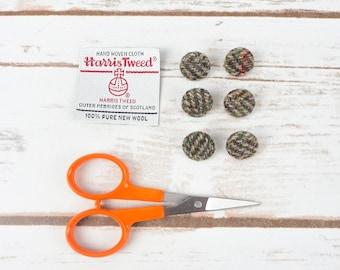 Olive Green Herringbone Harris Tweed Covered Buttons - 15mm