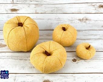 Plush Harris Tweed Pumpkins - Yellow Check