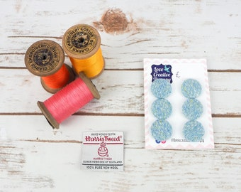 Baby Blue Harris Tweed Covered Buttons - 23mm