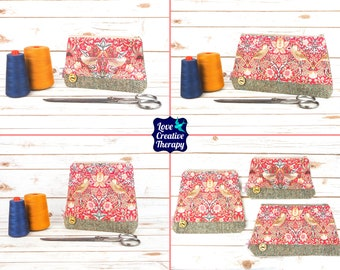 Zipped Pouches: William Morris Strawberry Thief Cotton and Harris Tweed - Choose Size!