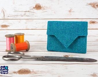 Teal Herringbone Harris Tweed Small Ladies Wallet with Coin Section