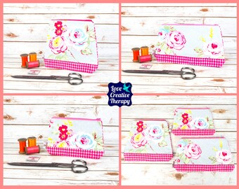 Zipped Pouches: Rose Floral Cotton and Pink Houndstooth Harris Tweed - Choose Size!