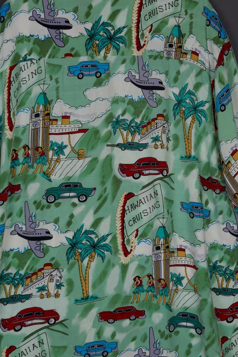 Vintage 1990/'s 2XL Next Originals Mens Hawaiian Shirt Korea Green w Cars and Crusieships