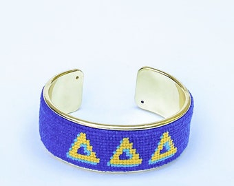 Delta Delta Delta Needlepoint Bracelet, Personalized 3/4 inch Gold Plated Cuff, Choose your Colors, Shown in Blue and Yellow