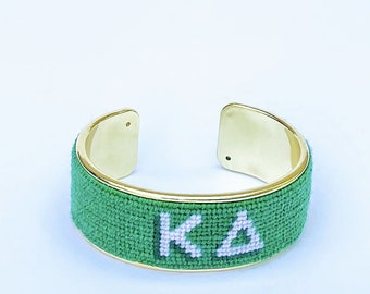 Kappa Delta Needlepoint Bracelet, Personalized 3/4 inch Gold Plated Cuff, Choose your Colors, Shown in Green and White