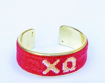 Chi Omega Needlepoint Bracelet, Personalized 3/4 inch Gold Plated Cuff, Choose your Colors, Shown in Red and Tan
