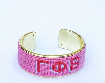 Gamma Phi Beta Needlepoint Bracelet, Personalized 3/4 inch Gold Plated Cuff, Choose your Colors, Shown in Pink and Poppy Pink