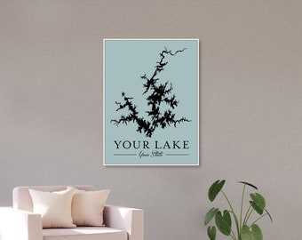 Custom Lake Map of Your Lake on Canvas, the perfect Lake House Decor, Personalized in your choice of Custom Colors, Sizes, and Frames