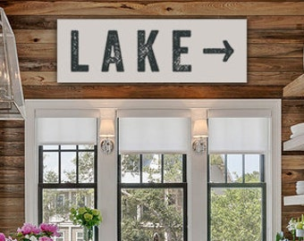 Superior Lake Sign Arrow Large Canvas, Lake House Decor, Vintage Look, Custom Sign,  Cabin Decor, Kitchen Art, Personalize Colors And Left Or Right