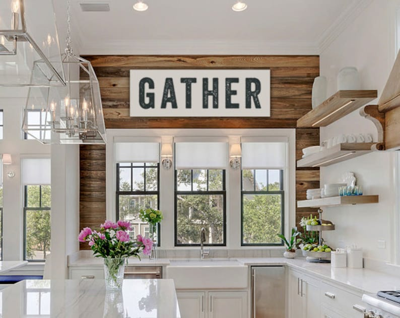 Gather Sign Large Canvas Kitchen Decor Custom Sign Home image 0