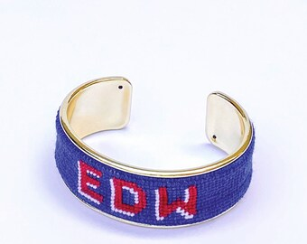 Custom Monogram Needlepoint Bracelet, Personalized 3/4 inch Gold Plated Cuff, Choose your Colors, Shown in Blue and Red