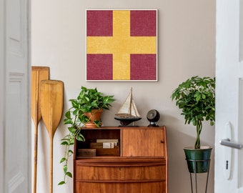 Nautical Signal Flag Sign on Canvas, Framed Canvas, or Metal, the perfect Wall Art for your Beach or Lake House, Vintage Print, Initial R