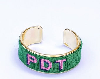 Custom Monogram Needlepoint Bracelet, Personalized 3/4 inch Gold Plated Cuff, Choose your Colors, Shown in Green and Pink